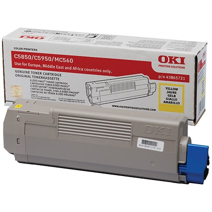 Oki 43865721 Yellow Laser Toner Cartridge