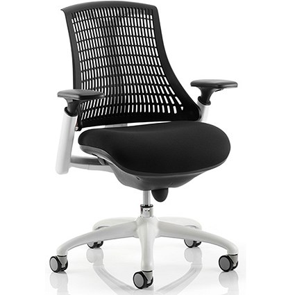 Flex Task Operator Chair, White Frame, Black Seat, Black Back