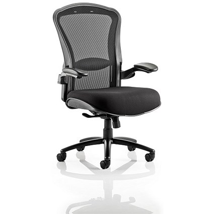Houston Heavy Duty Task Operator Chair, Mesh Back, Fabric Seat, Black