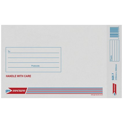 GoSecure Bubble Lined Envelope Size 7 230x340mm White (Pack of 20) PB02129