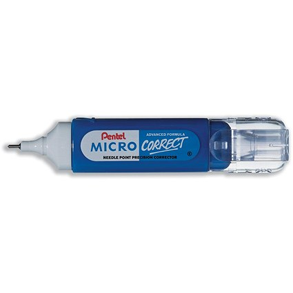 Pentel Micro Correct Correction Fluid Pen, Needle Point Precision Tip, 12ml, Pack of 12