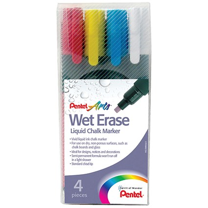 Pentel Chalk Marker, Chisel Tip, Assorted Colours, Pack of 4