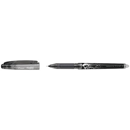 Pilot FriXion Hi-Tecpoint Rollerball Pen, Erasable, 0.5mm Tip, 0.25mm Line, Black, Pack of 12