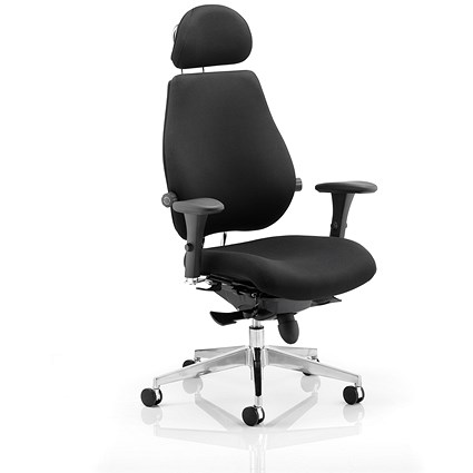 Chiro Plus Ultimate Chair with Headrest, Black, Built