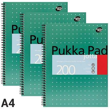 Pukka Pad Wirebound Jotta Notebook, A4, Ruled, 200 Pages, Pack of 3
