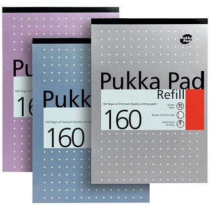 Pukka Pad Headbound Refill Pad, A4, Ruled with Margin, Punched, 160 Pages, Pack of 6