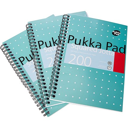 Pukka Pad Square Wirebound Metallic Jotta Notepad 200 Pages A5 (Pack of 3)