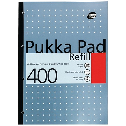 Pukka Pad Sidebound Refill Pad, A4, Ruled with Margin, Punched, 400 Pages, Pack of 5