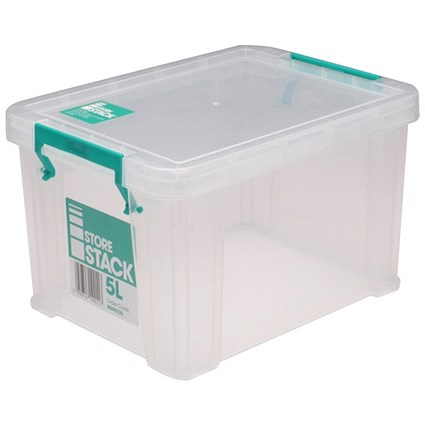 StoreStack Storage Box, Clear, 5 Litre