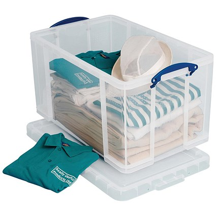 Really Useful Storage Box, 84 Litre, Clear