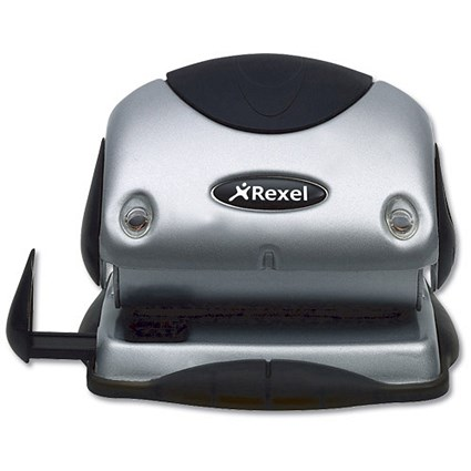Rexel P215 2-Hole Punch with Nameplate, Silver and Black, Punch capacity: 15 Sheets