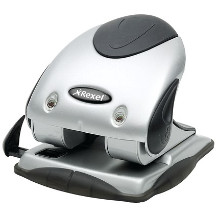 Rexel P240 Heavy Duty 2-Hole Punch, Silver and Black, Punch capacity: 40 Sheets