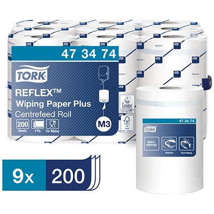Tork Reflex Wiper Rolls, 2-Ply, White, 9 Rolls of 200 Sheets