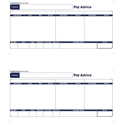 Sage Compatible A4 Pay Advice, Laser or Inkjet, 250 Forms, 500 Payslips