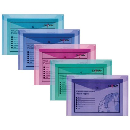 Snopake A5 Polyfile Wallet, Electra, Pack of 5