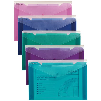 Snopake Polyfile Trio Electra Assorted A4 (Pack of 5)