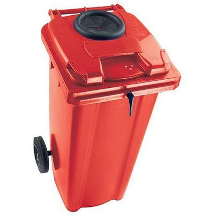 Wheelie Bottle Bank Bin / Aperture Lid Lock / 120 Litre / Red