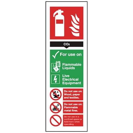 Safety Sign Carbon Dioxide Fire Extinguisher 280x90mm Self-Adhesive