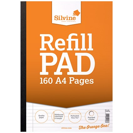 Silvine Ruled Sidebound Refill Pad A4 160 Pages (Pack of 6)