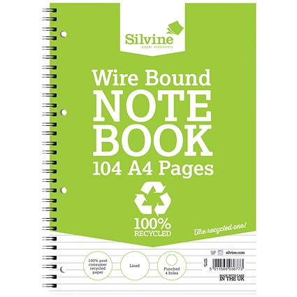 Silvine Recycled Wirebound Notebook, A4, Ruled, Punched, 104 Pages, Pack of 12