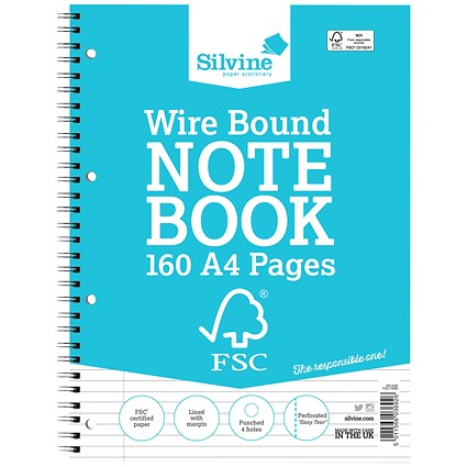 Silvine Wirebound Notebook, A4, Ruled & Perforated, 160 Pages, Pack of 5