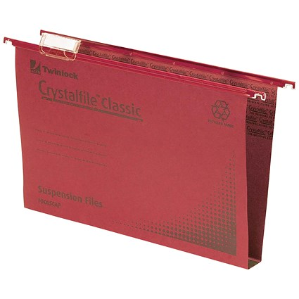Rexel CrystalFiles Classic Suspension Files / Square Base / 30mm Capacity / Foolscap / Red / Pack of 50