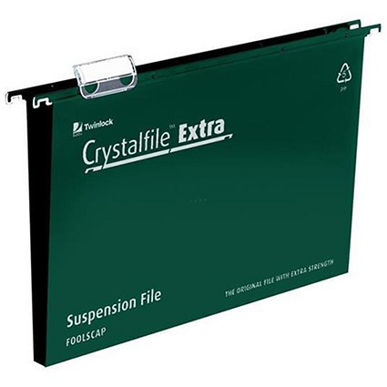 Rexel CrystalFiles Extra Suspension Files / Square Base / 30mm Capacity / Foolscap / Green / Pack of 25