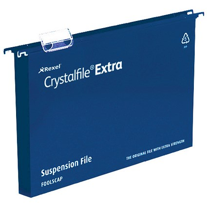 Rexel CrystalFiles Extra Suspension Files / Square Base / 30mm Capacity / Foolscap / Blue / Pack of 25