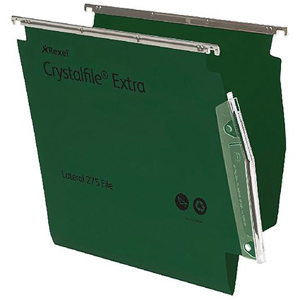 Rexel CrystalFile Extra Lateral Files / Plastic / 275mm Width / 15mm V Base / Green / Pack of 25