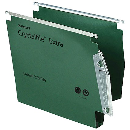 Rexel CrystalFile Extra Lateral Files, Plastic, 275mm Width, 30mm Square Base, Green, Pack of 25