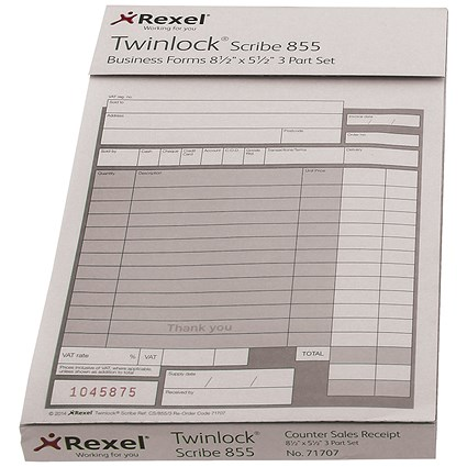 Twinlock Scribe 855 Goods Received Business Form / 3-Part / Pack of 75