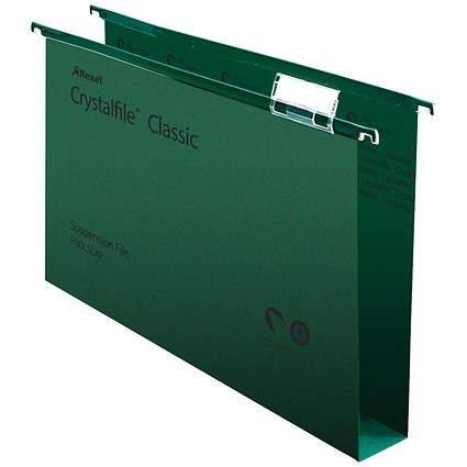 Rexel CrystalFiles Classic Suspension Files / Square Base / 50mm Capacity / Foolscap / Green / Pack of 50