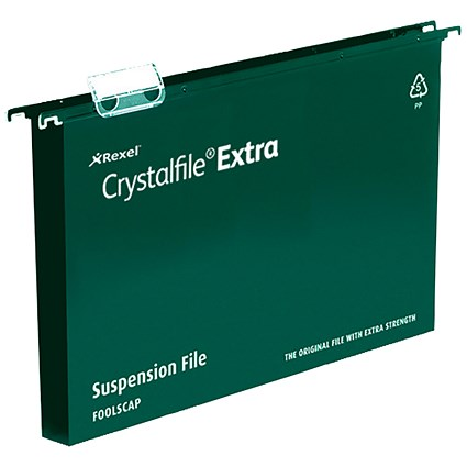Rexel CrystalFiles Extra Suspension Files / Square Base / 30mm Capacity / A4 / Green / Pack of 25