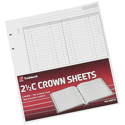 Twinlock 2.5C Crown Double Ledger Sheets, Ref: 75831, Pack of 100