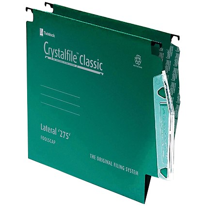 Rexel CrystalFile Classic Lateral Files, Extra Deep, 275mm Width, 15mm V Base, Green, Pack of 50