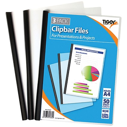 Tiger Clipbar A4 Files Clear (Pack of 36)