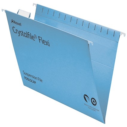 Rexel CrystalFiles FlexiFiles Suspension Files, V Base, 15mm Capacity, Foolscap, Blue, Pack of 50