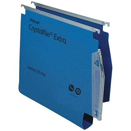 Rexel CrystalFile Extra Lateral Files, Plastic, 275mm Width, 30mm Square Base, Blue, Pack of 25