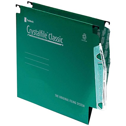 Rexel CrystalFile Classic Lateral Files, 330mm Width, 15mm V Base, Green, Pack of 50
