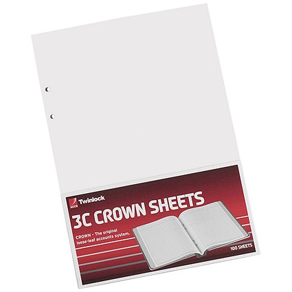 Twinlock 3C Crown Double Ledger Sheets, Ref: 75841, Pack of 100