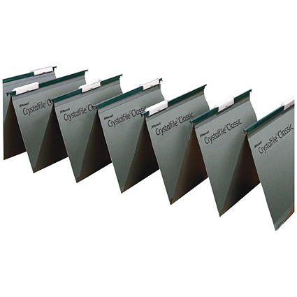 Rexel CrystalFiles Classic Linked Suspension Files, V Base, 15mm Capacity, Foolscap, Green, Pack of 50