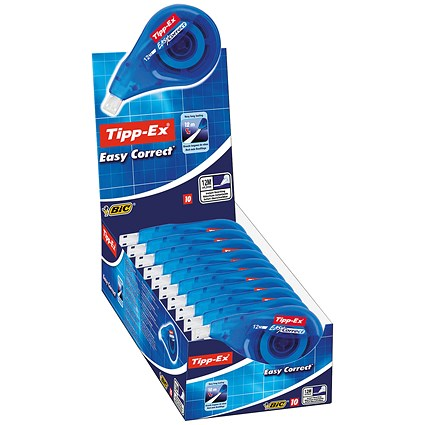 Tipp-Ex Easy-correct Correction Tape Roller, 4.2mmx12m, Pack of 10