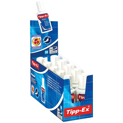 Tipp-Ex Rapid Correction Fluid, Fast-drying with Foam Applicator, 20ml, Pack of 10