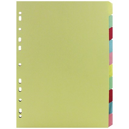 Everyday A4 Manilla 10-Part Divider - Multi-Colour Tabs