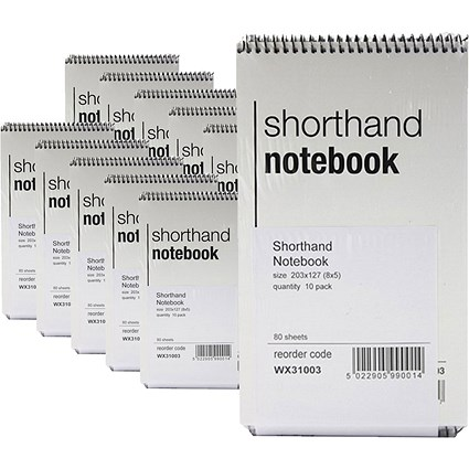 Spiral Shorthand Notebook 80 Leaf - Pack of 10