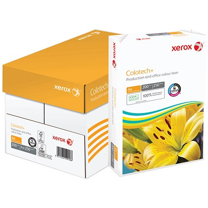 Xerox Colotech+ A4 Paper, White, 200gsm, Box (4 x 250 Sheets)
