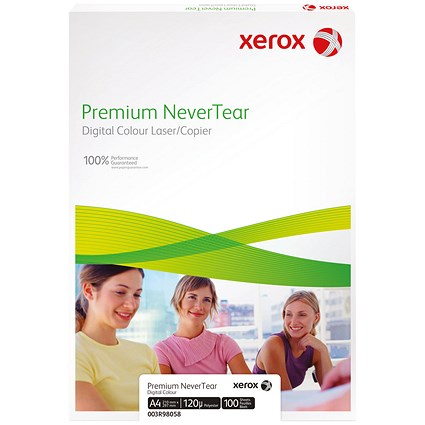 Xerox A4 Premium Nevertear Paper, White, 95 Micron, 100 Sheets