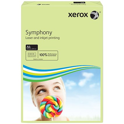 Xerox Symphony Tints Paper - Pastel Green, A4, 80gsm, Ream (500 Sheets)