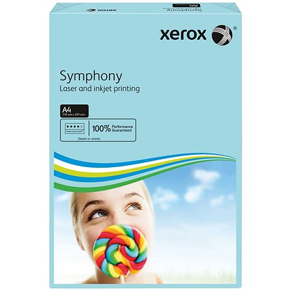 Xerox Symphony Tints Paper - Medium Blue, A4, 80gsm, Ream (500 Sheets)