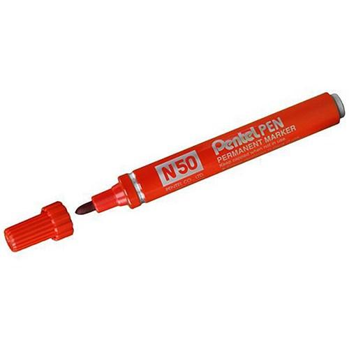 Pentel N50 Permanent Marker / Bullet Tip / Red / Pack of 12